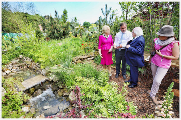 President Michael D Higgins and Sabina Higgins meet designers Ruairi O'Dulaing and NIcola Haines on the DLR Fernhill 'An Exercise in Sustainability' garden. Photo Chris Bellew / Fennell Photography