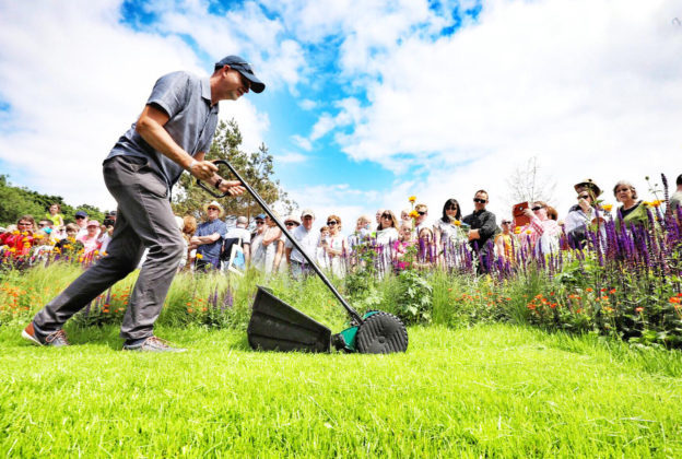 Garden designer Kevin Dennis keeps on top of things at the Fruit Juice Matters Garden at Bord Bia's Bloom 2018 where 20 show gardens, 13 postcard gardens and 200 retail stands that include more than 100 food and drink exhibitors and some 30 plant nurseries are on display. The 70-acre site of stages, marquees and pavilions are hosting in the region of 150 live talks, demonstrations and family-friendly activities continues until Monday, June 4th. Photo Fennell Photography