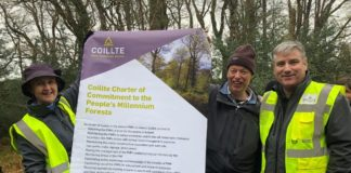 Signing of Coillte's new Charter of Commitment for the People's Millennium Forests; Pictured Left to Right: Aileen O'Sullivan, Senior Ecologist with Coillte, Declan Little, Woodlands of Ireland, Gerard Murphy, Managing Director of Coillte.