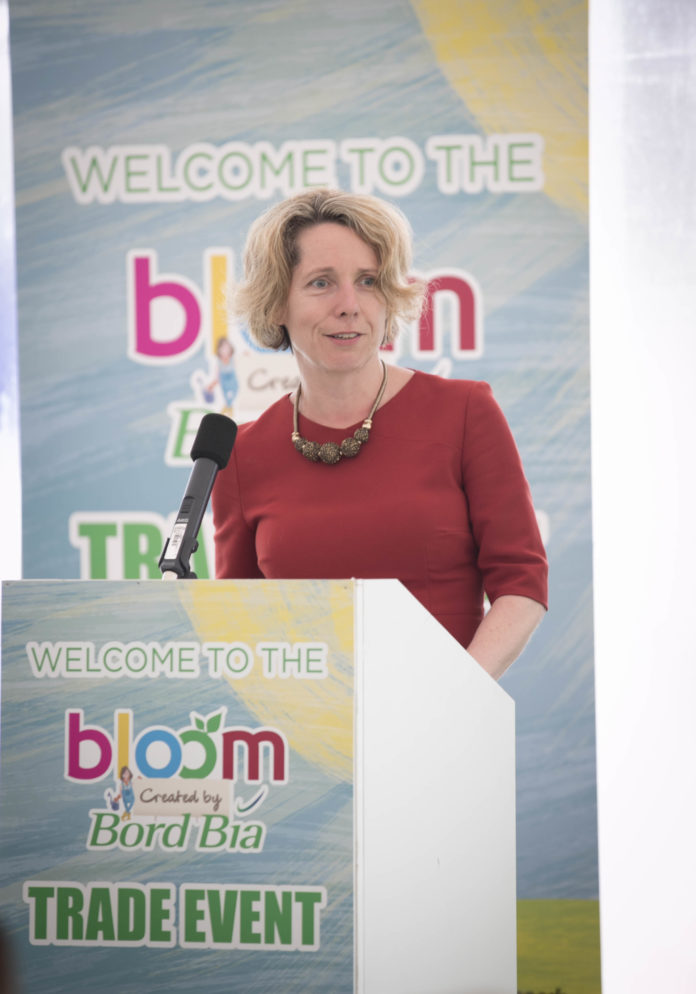 Bord Bia today hosted more than 200 national and international buyers for a trade breakfast in the Food Village at Bloom, Ireland's largest gardening, food and drink festival created by Bord Bia. The breakfast event is just one of a number of business opportunities which Bord Bia's Bloom offers to Irish companies exhibiting at the festival with the showcase also offering a platform for emerging businesses and new product innovations to launch. A 2017 visitor report quantified spend at the show at almost Eur9 million, with the potential for up to Eur34 million spent with exhibiting companies post-event. Pictured addressing the event is Tara McCarthy, Chief Executive, Bord Bia. Iain White - Fennell Photography.