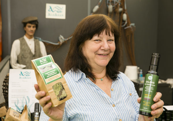 "Rosaria Piseri, Algaran Seaweed, Glencolmcille, Co. Donegal launched 'Bia Farraige Arann' range of seaweed and fruit concentrated juices called ""Su' Arann' at Bord Bia's Bloom 2019 Photo: Johnny Bambury/Fennells"