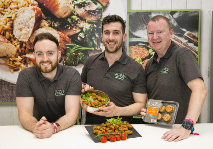 Leigh Carr, Ger Kirwan and Paul Keating, Rudds Fine Foods who launched a new Chorizo White Pudding using traditional flavours with Spanish Chorizo chunks at Bord Bia's Bloom 2019 Photo: Johnny Bambury/Fennells