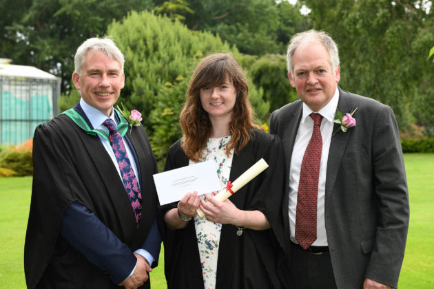 Top Level 3 student Rachel McElfatrick (Ballymoney), was congratulated on being awarded the DAERA Prize for being the top student on the Level 3 Extended Diploma course by Paul Mooney (Head of Horticulture, CAFRE) and Robert Huey (Chief Veterinary Officer, DAERA) at the Greenmount Campus Horticulture Awards Ceremony.