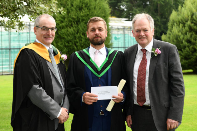 First overall on the Foundation Degree Eoin Quinn (Belfast), was congratulated on being awarded the DAERA Prize for being the top full-time student on the Foundation Degree in Horticulture course by Martin McKendry (CAFRE Director) and Robert Huey (Chief Veterinary Officer, DAERA) at the Greenmount Campus Horticulture Awards Ceremony.