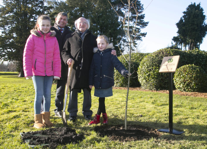 "President of Ireland Michael D. Higgins planted a Native ""Sessile Oak"" tree in the Phoenix Park to commemorate Ireland's launch of International Year of Plant Health 2020. Pictured with President Michael D. Higgins, are Andrew Doyle, Minister for State at the Department of Agriculture, Food and the Marine, with Molly Keenan aged 11, with her sister Rhona aged 7, both from Scoil Mhuire Na Trocaire, Ardee, Co. Louth. Picture Colm Mahady / Fennells - Copyright© Fennell Photography 2020"